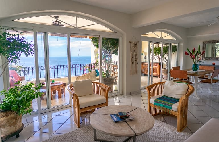 Living Room View of a Ocean View Condo in Amapas Puerto Vallarta