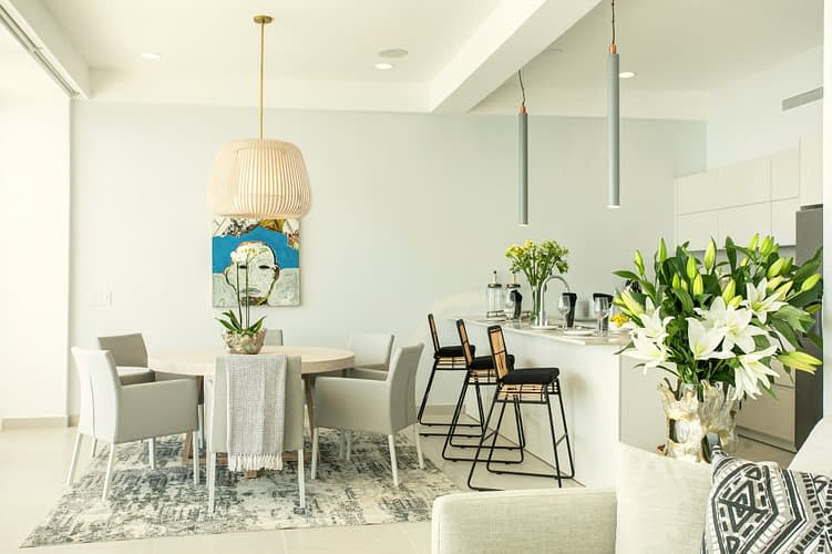 Beautifully decorated interior of a luxury oceanfront condo with relaxing and mellow colors.