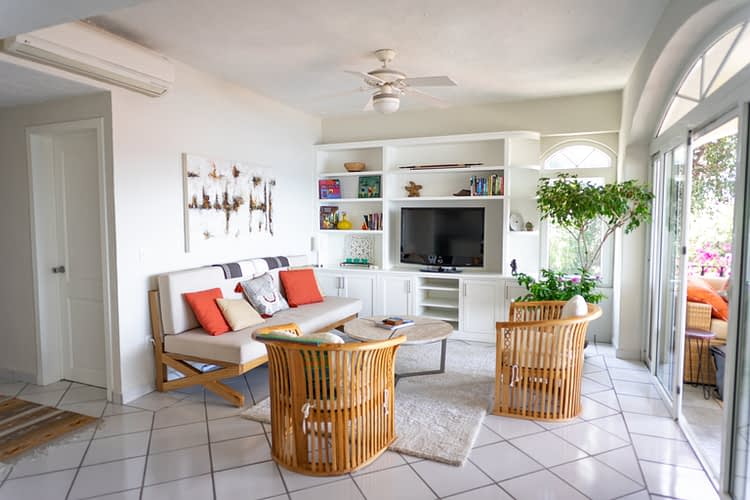 Beautifully decorated interior design in living room of ocean view condo in amapas.